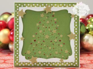 tłoczona choinka na kartce świątecznej